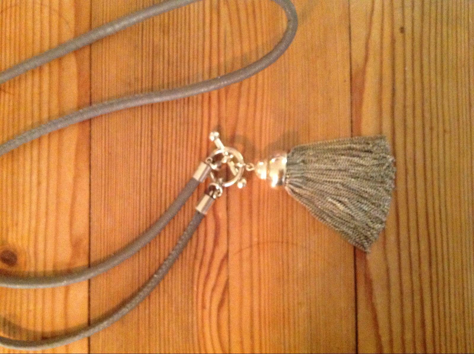 Halsband beige läderrem (second hand)