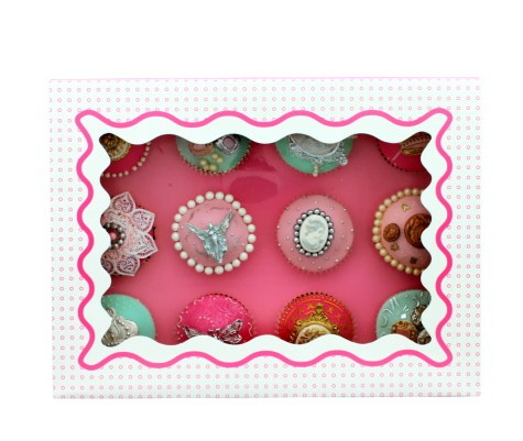 Luxuary Satin Cupcake Box- Pink & White (Holds 12)