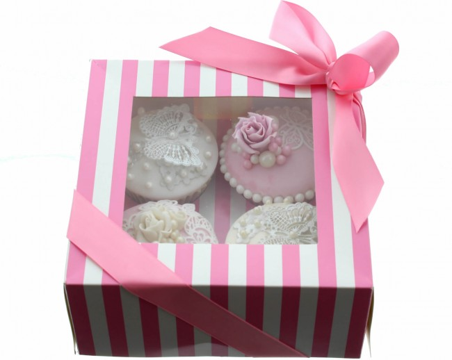 Luxuary Satin Cupcake Box- Pink & White (Holds 4)