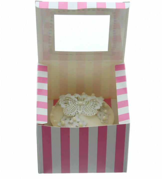 Luxuary Satin Cupcake Box- Pink & White  (Holds 1)