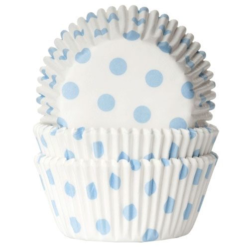 House of Marie Baking cups Polkadot white/baby blue - pk/50