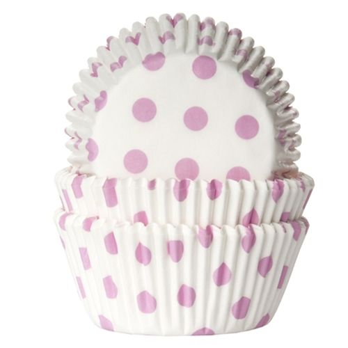 House of Marie Baking cups Polkadot white/baby pink - pk/50
