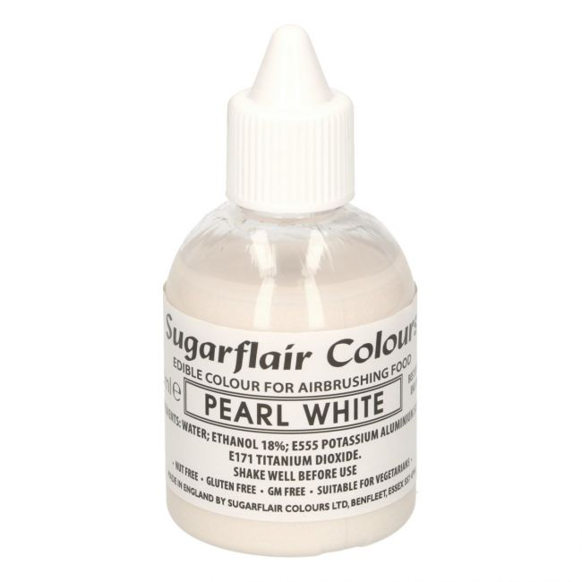 SUGARFLAIR AIRBRUSH COLOURING -GLITTER PEARL WHITE