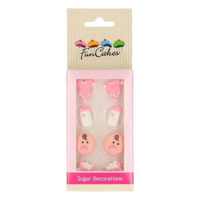 FUNCAKES SUGAR DECORATIONS BABY GIRL SET/8