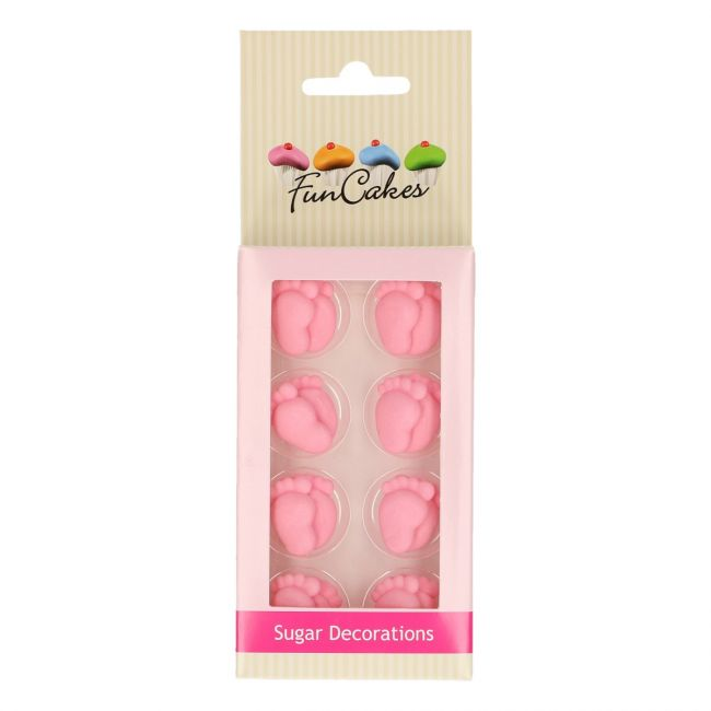 FUNCAKES SUGAR DECORATIONS BABY FEET GIRL SET/16