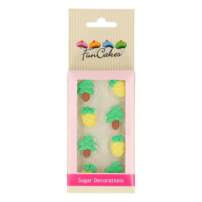 FUNCAKES SUGAR DECORATIONS PINEAPPLE & PALM TREES SET/8