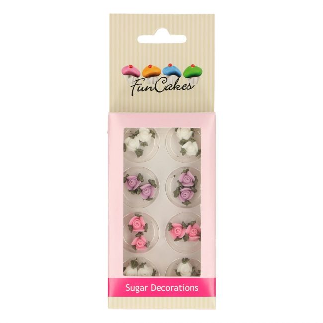 FUNCAKES SUGAR DECORATIONS ROSES WITH LEAFS SET/16