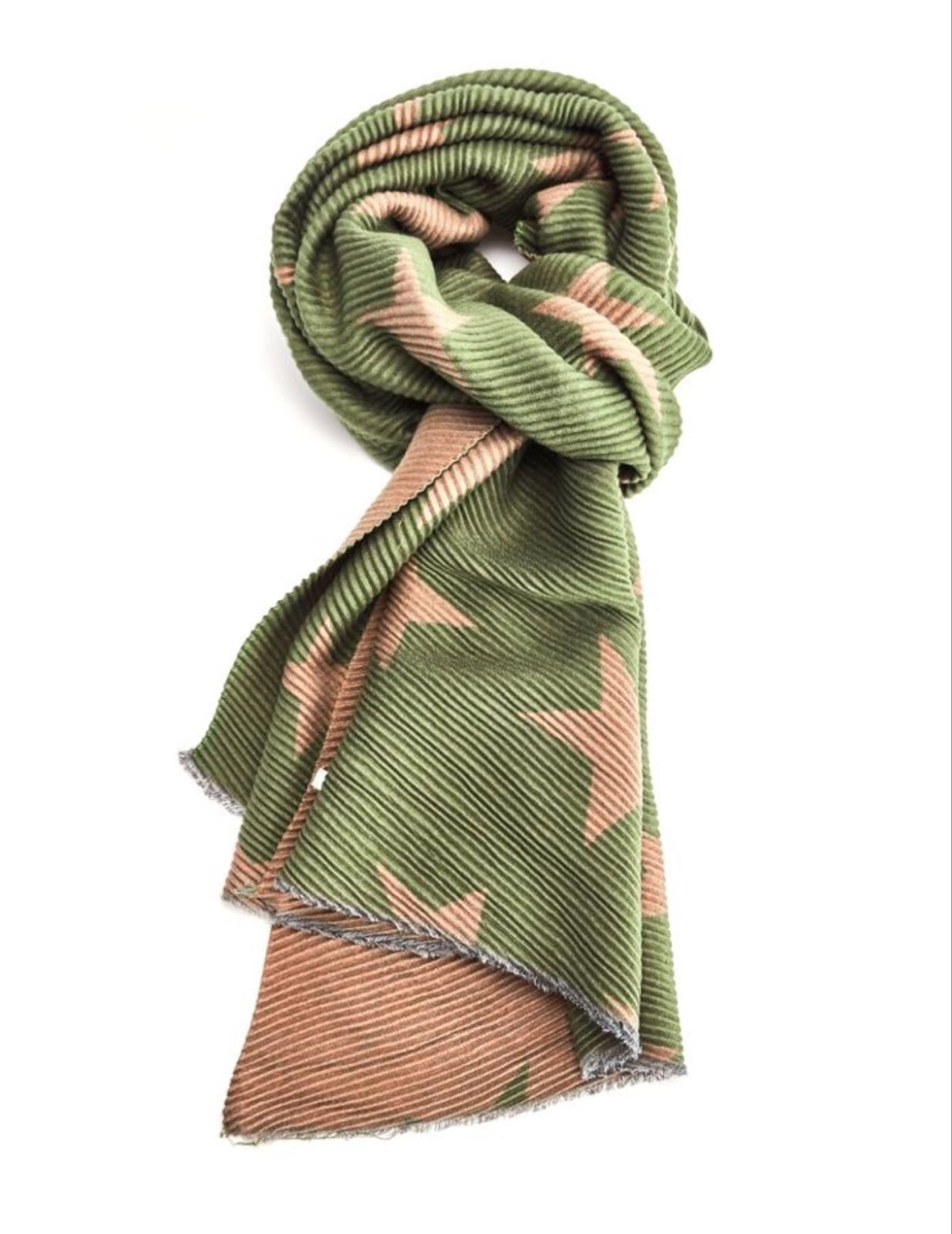 Pleated Chunky Scarf Stars - Olive/Tan
