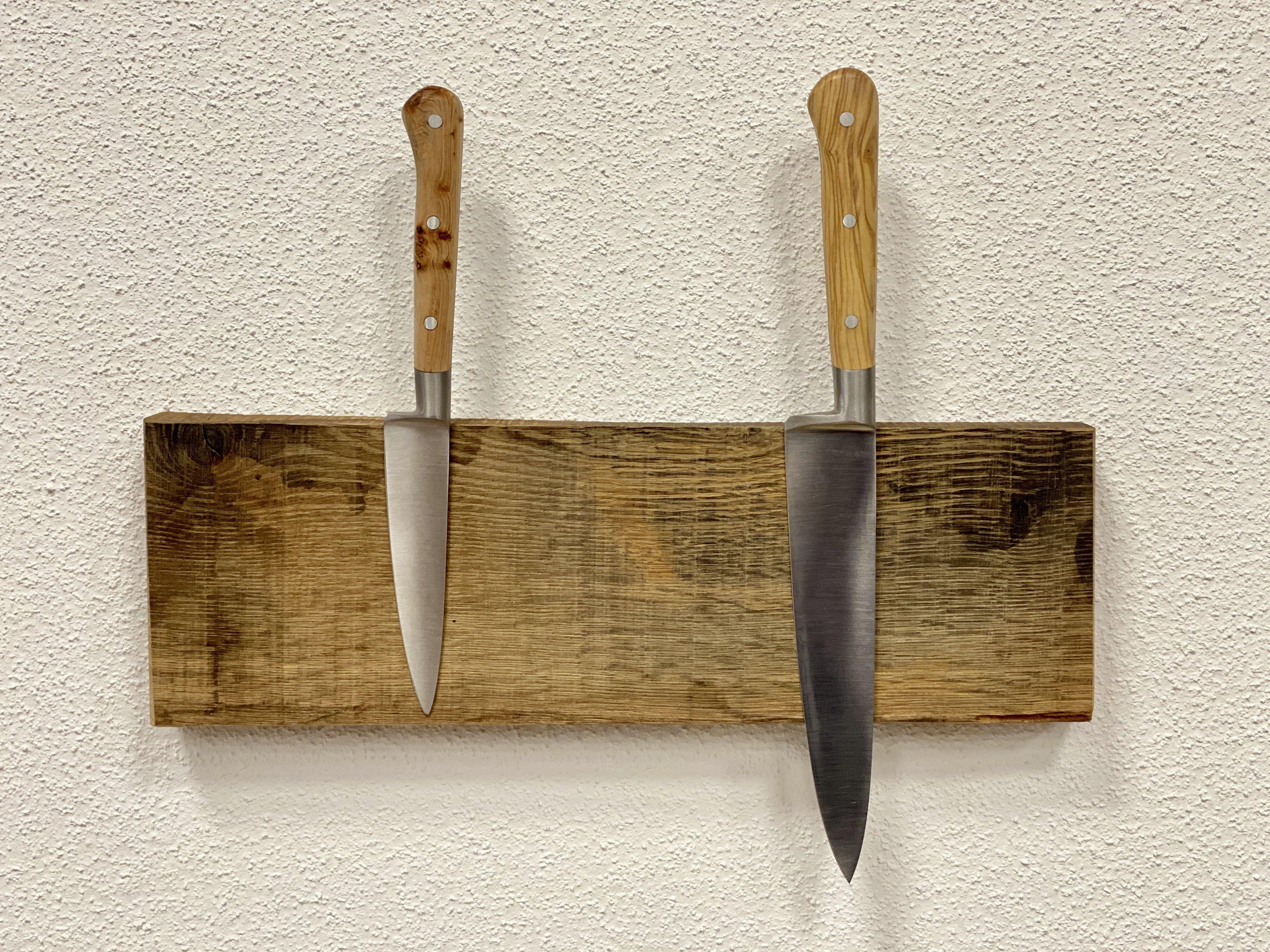 """Messer-Schlüsselboard in """"Altholz Eiche"""" für 3 oder 5 Messer / Schlüssel"""