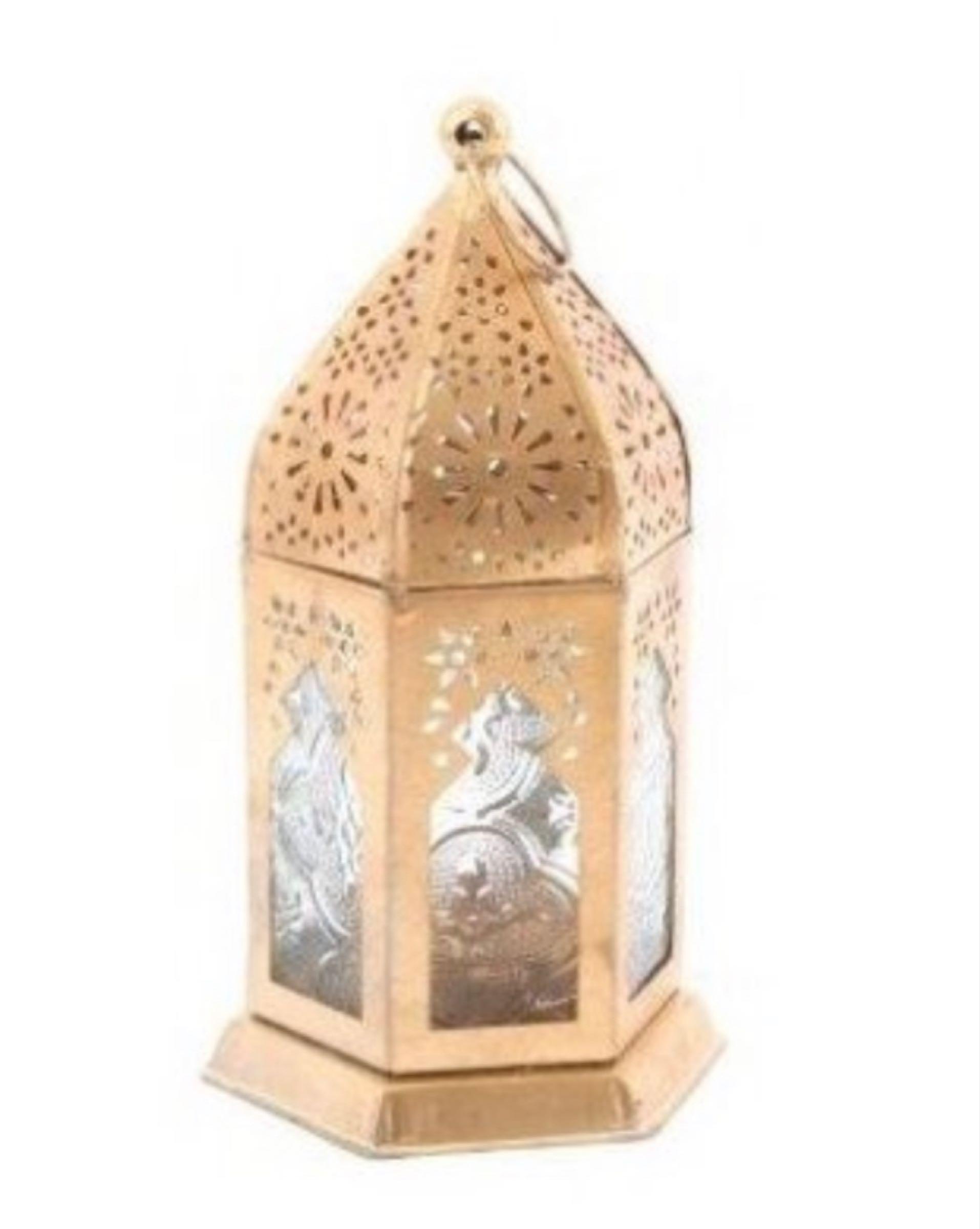 Gold metal caged lantern 16.5cm