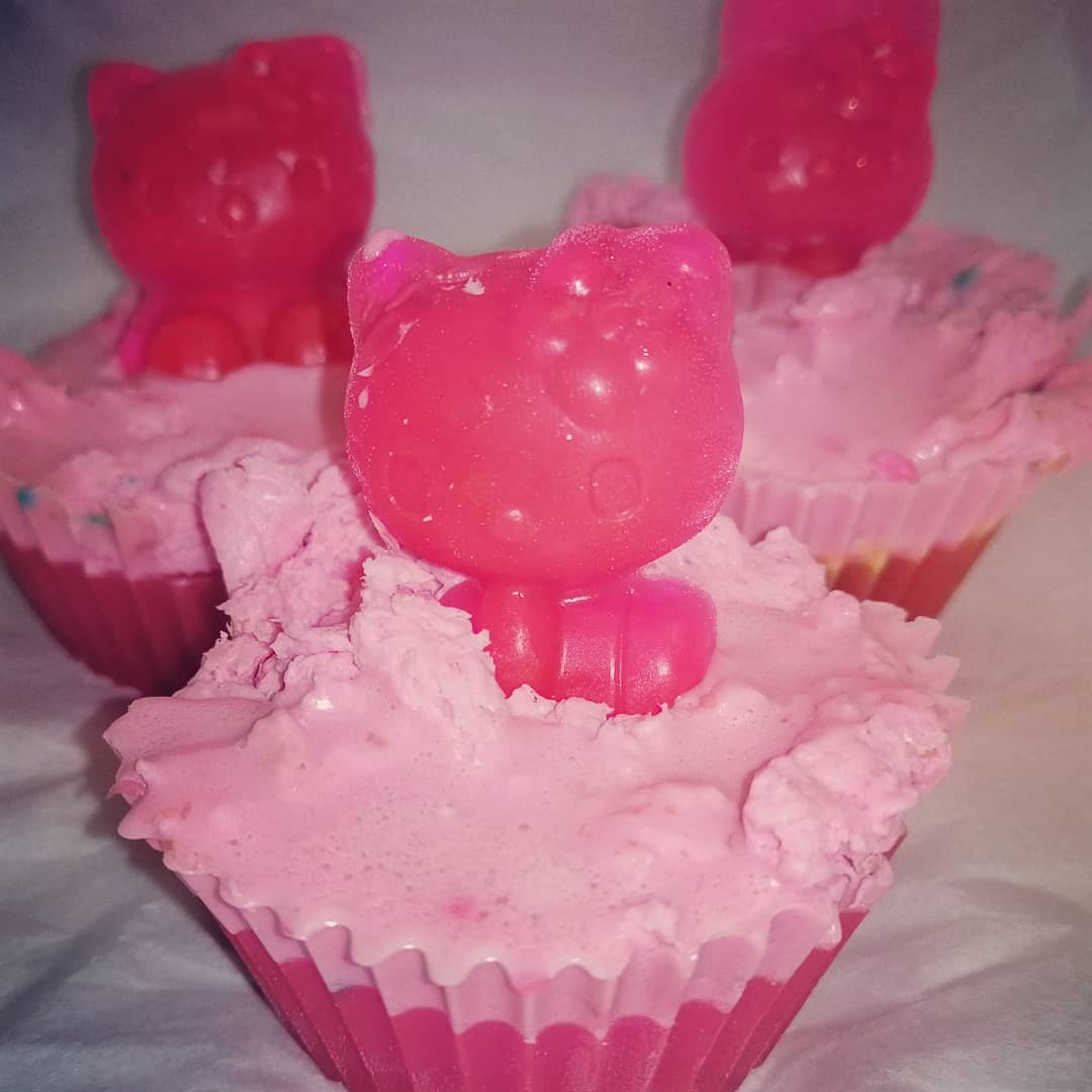 Hello Kitty Inspired Cupcake Soaps