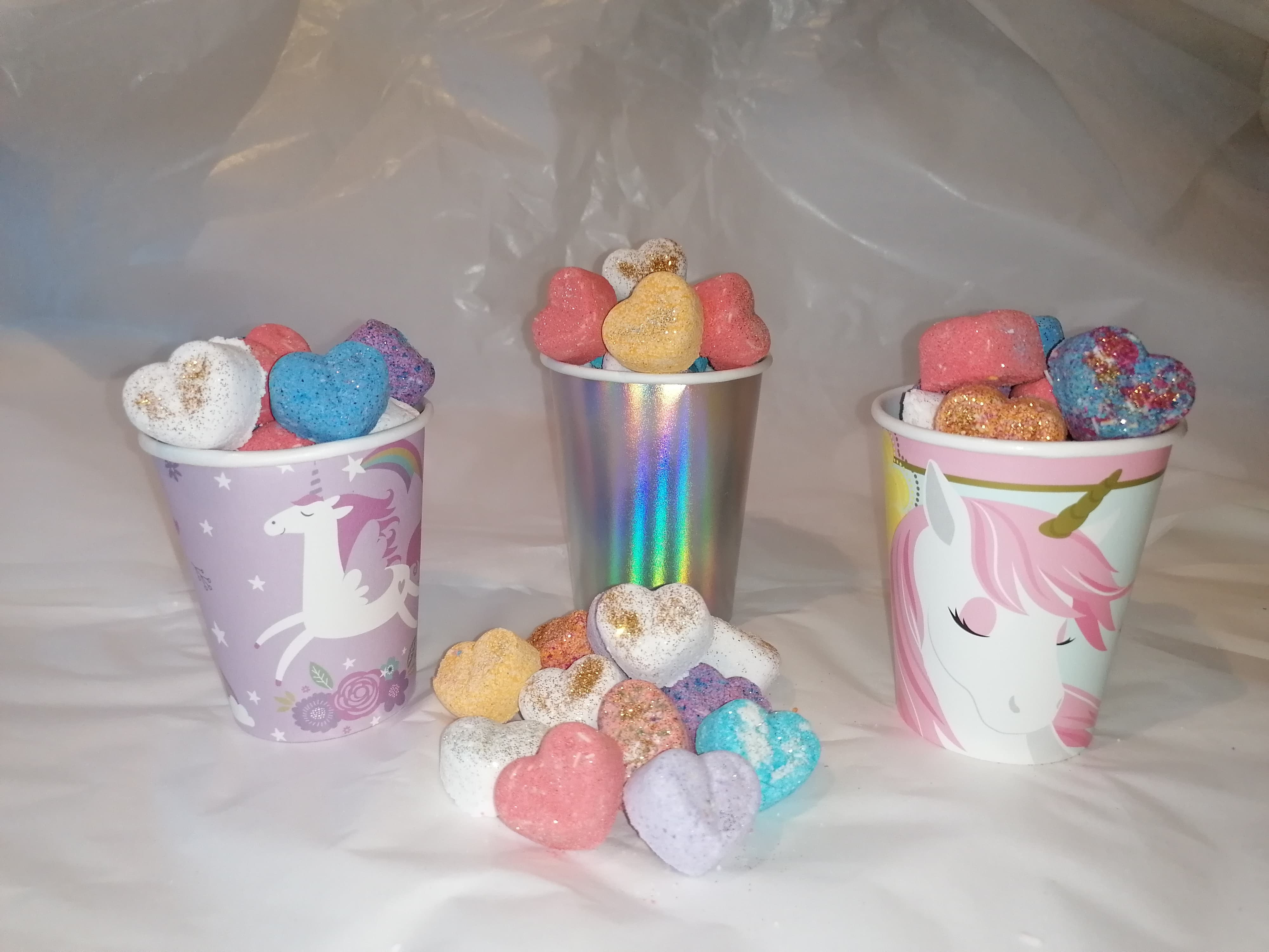 Mini Hearts Bath Bomb Cups Gift Wrapped