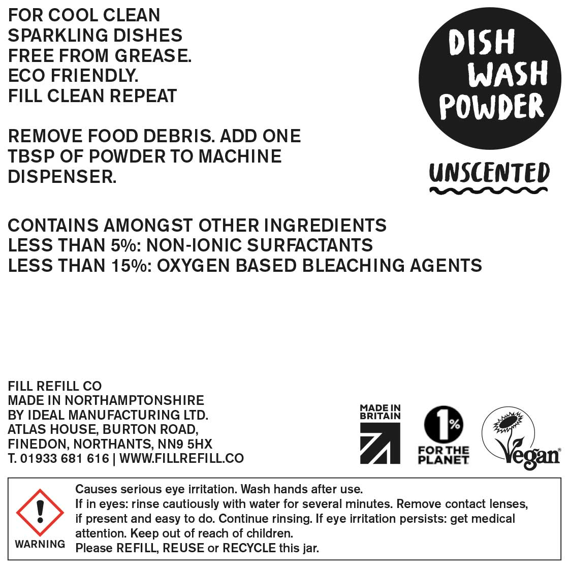 Dishwash Powder - Unscented (powder only) by Fill