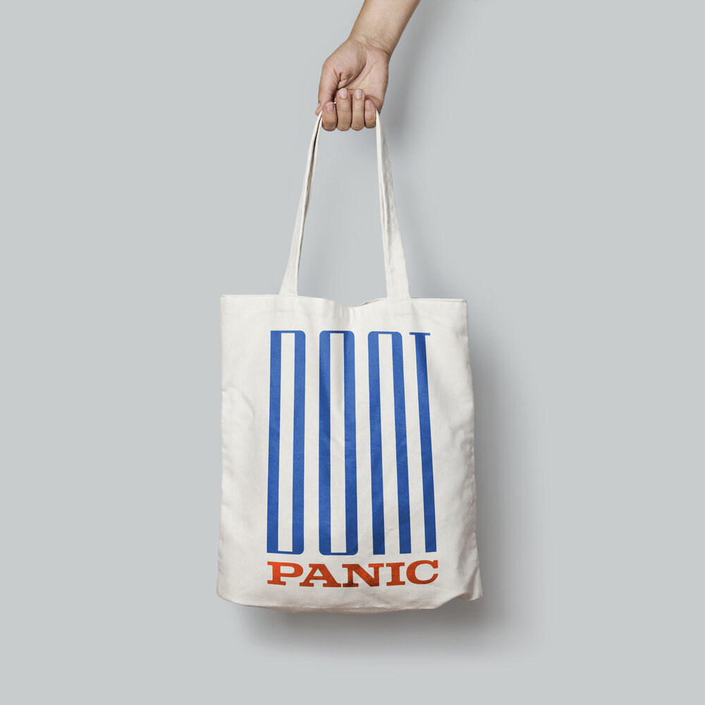 Don't Panic Tote Bag by MMM.Creative (charitable donation)