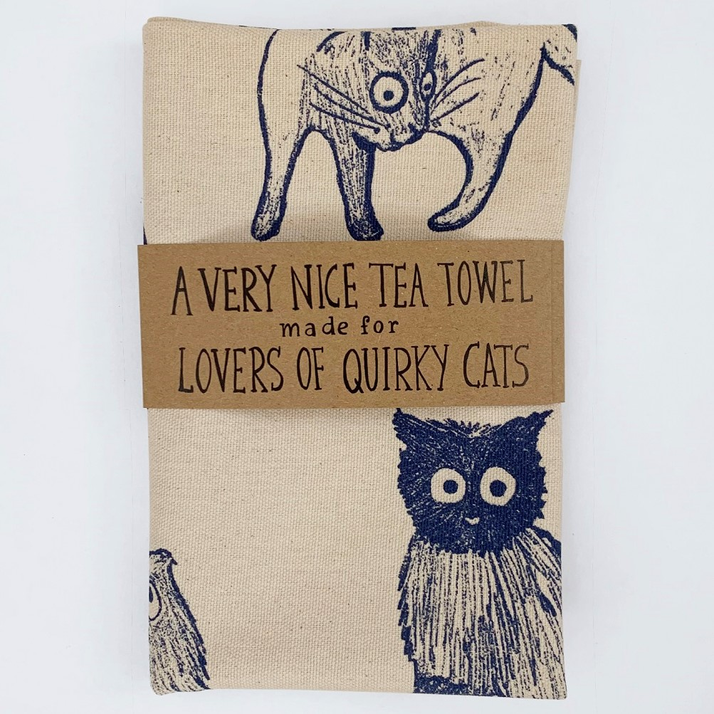 Cat Tea Towel (100% Organic Cotton) by Georgia Camden