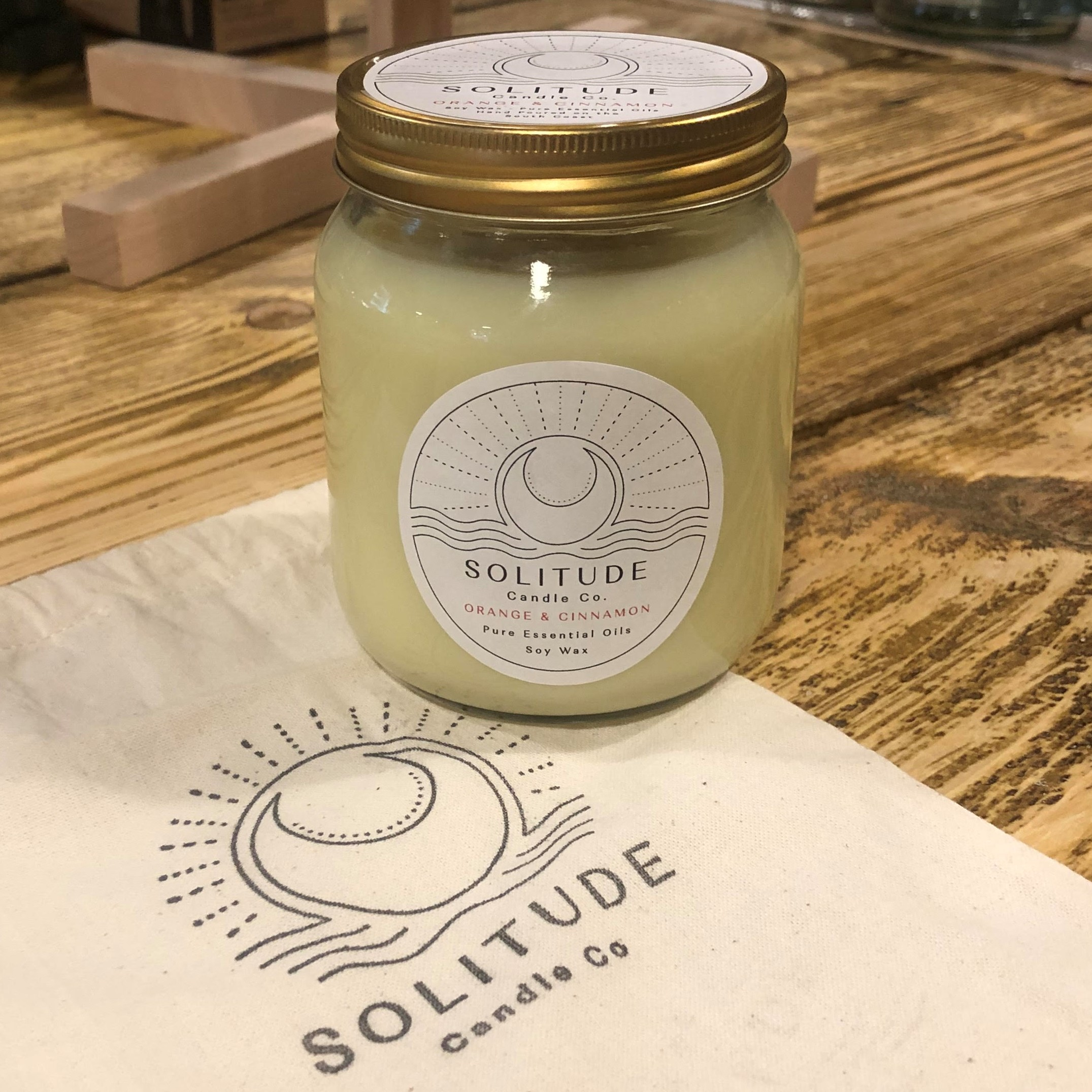 Soy Wax Candle, Scented (Sweet Orange & Cinnamon) by Solitude Candle Co.