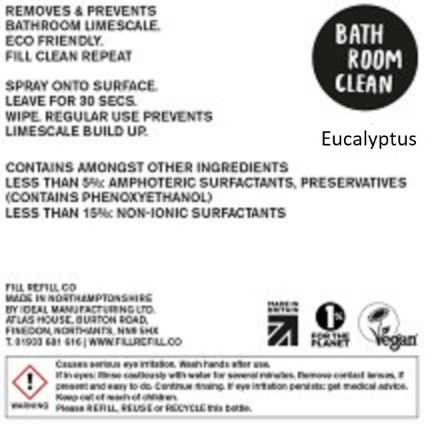 Bathroom Cleaner - Eucalyptus (liquid only) by Fill