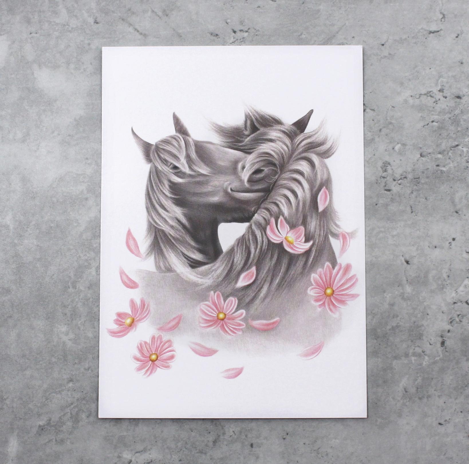 Hevoset ja kukat -Postikortti (Hevonen)
