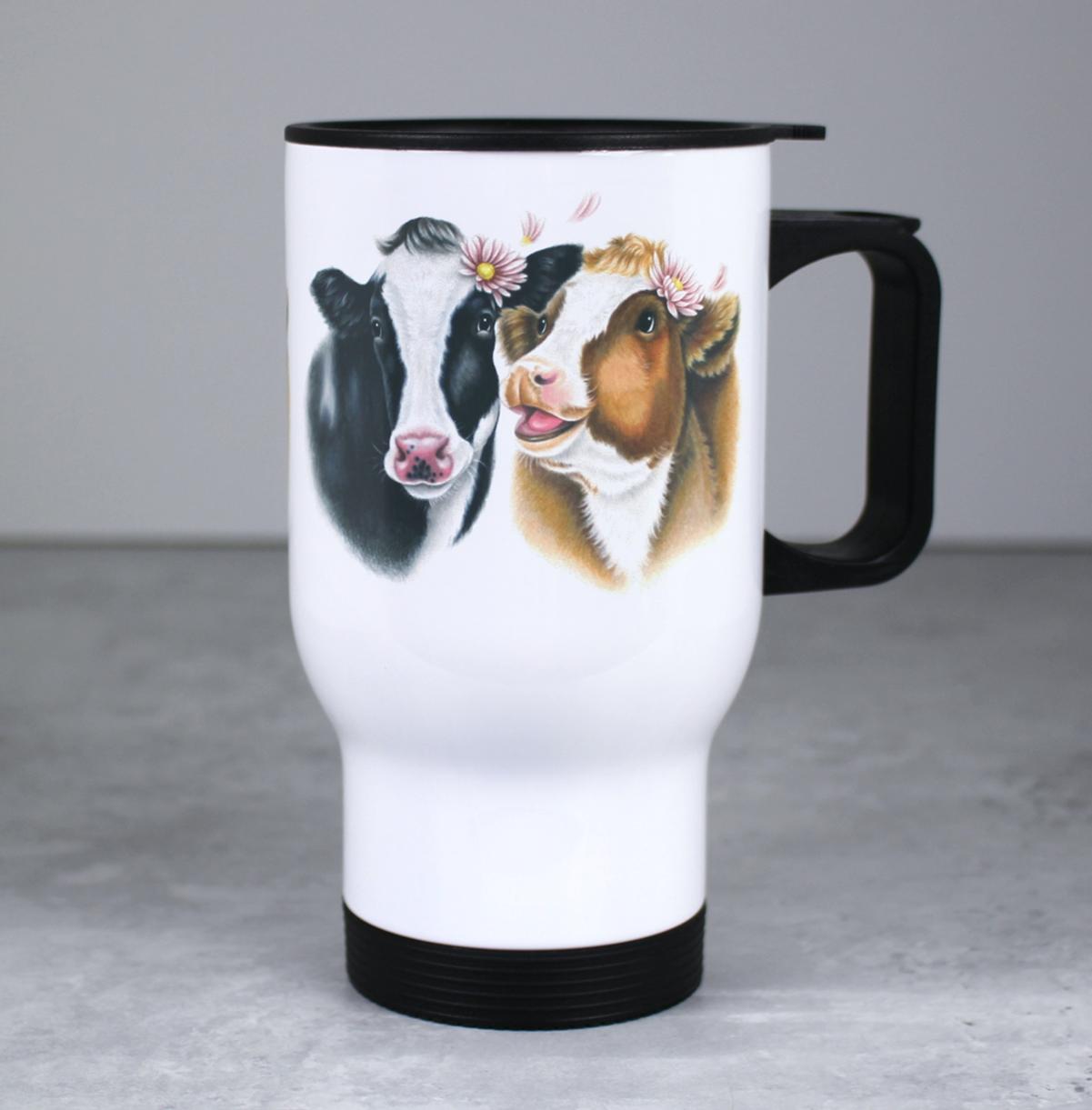 Lehmäpari -Valkoinen Termosmuki