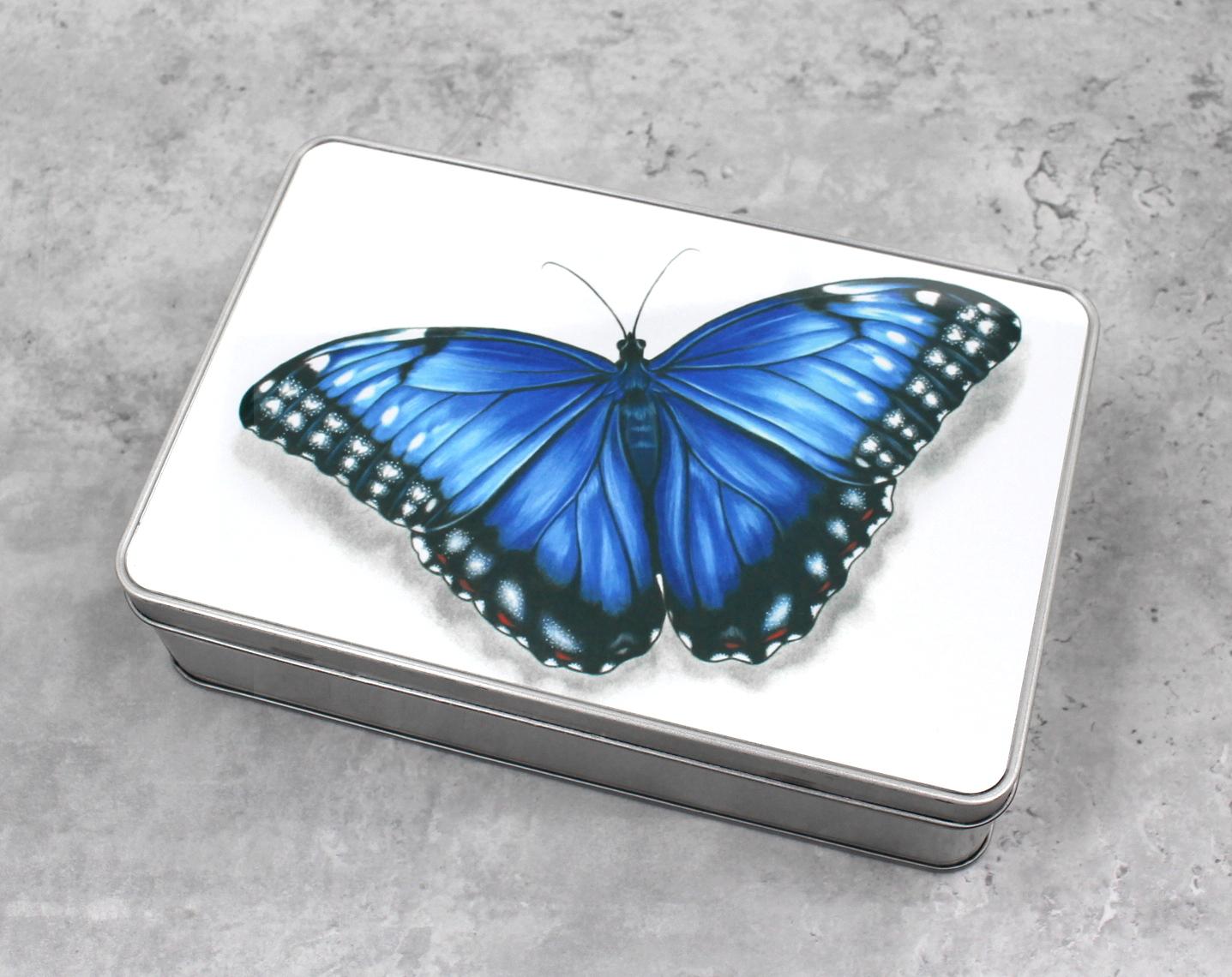 Perhonen Sininen -Peltirasia
