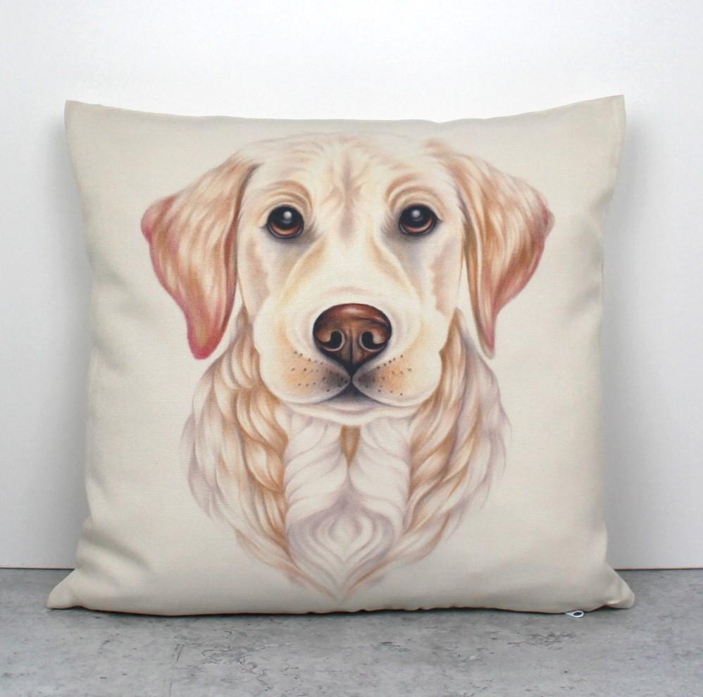 Kultainennoutaja / Vaalea Labradorinnoutaja -Sisustustyyny (Koirarodut)