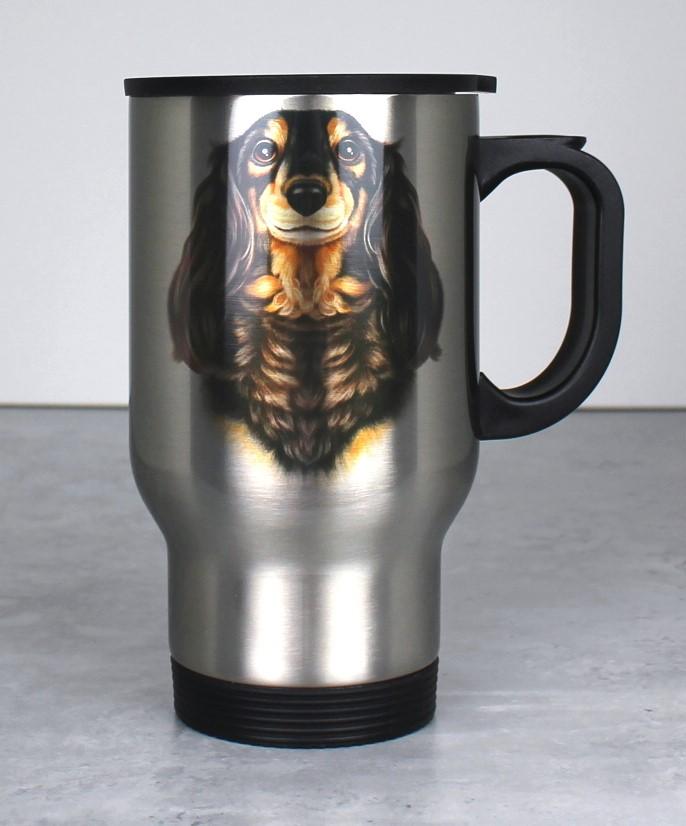 Mäyräkoira Musta Pitkäkarvainen -Termosmuki (Koirarodut)
