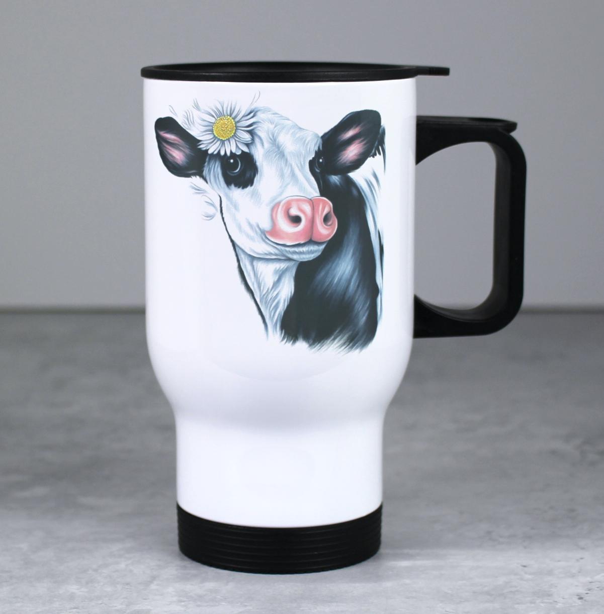 Lehmä Mustavalkoinen -Valkoinen Termosmuki