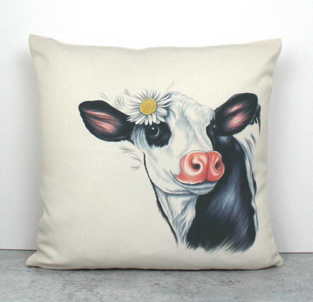Lehmä Mustavalkoinen -Sisustustyyny