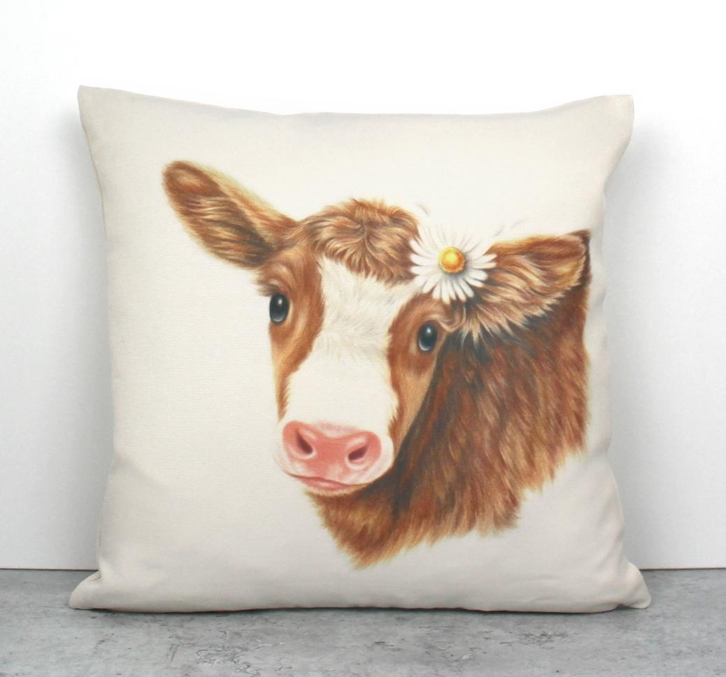 Lehmä Ruskea -Sisustustyyny