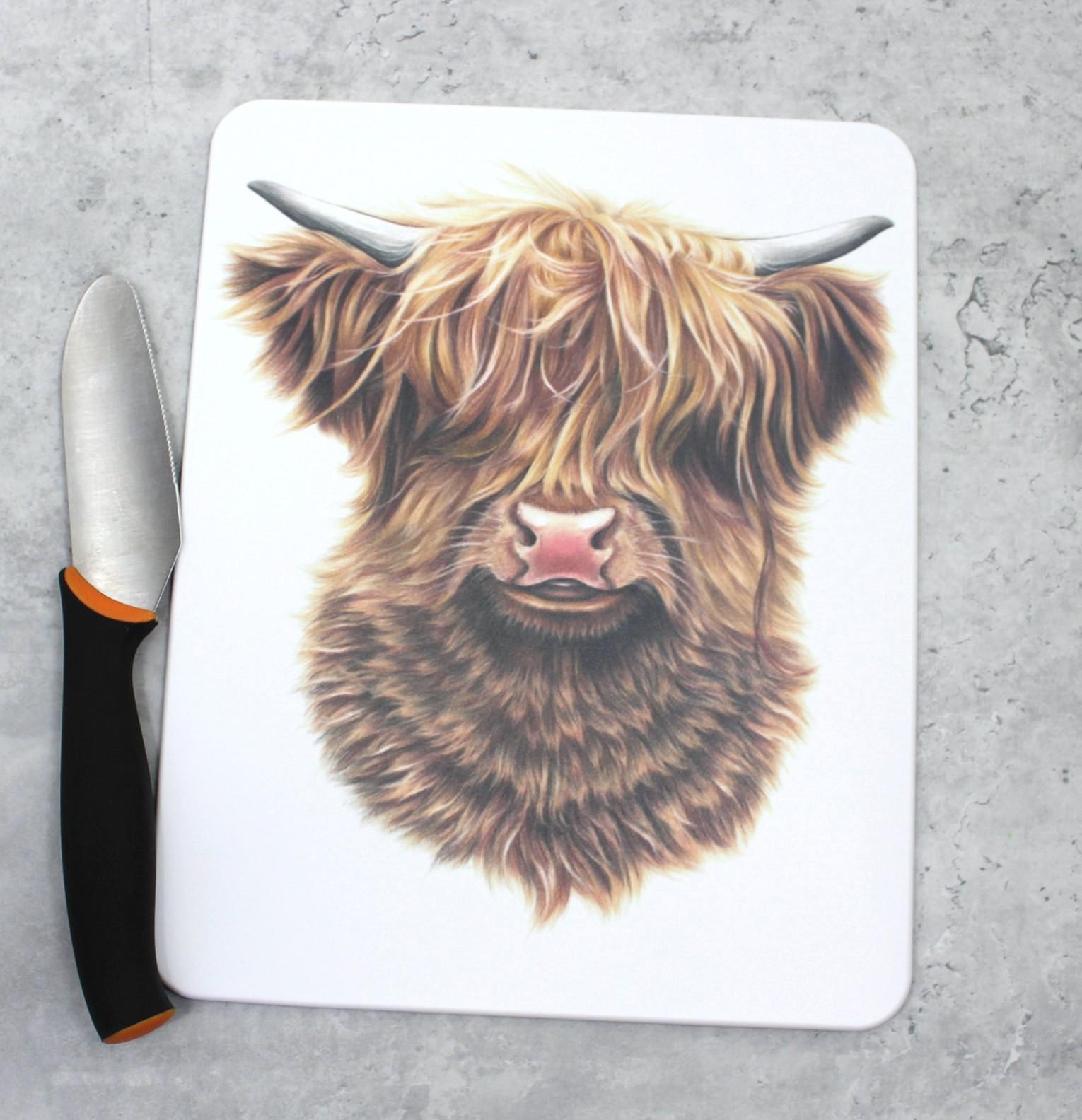 Lehmä Ylämaankarja -Leikkuulauta