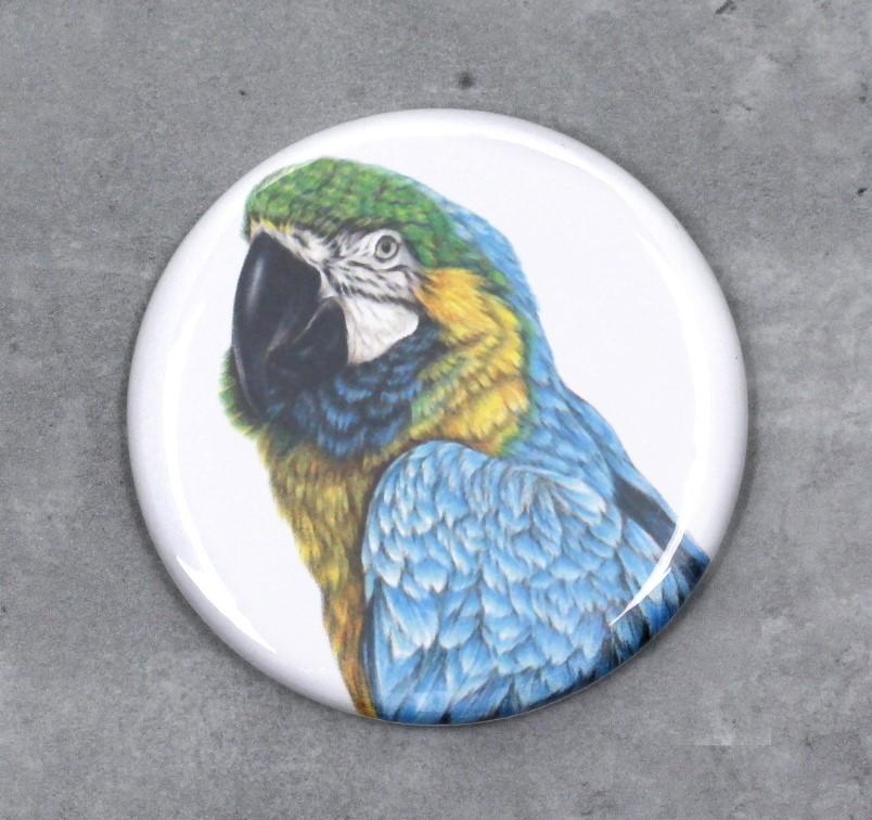Papukaija Sininen Macaw -Nappi