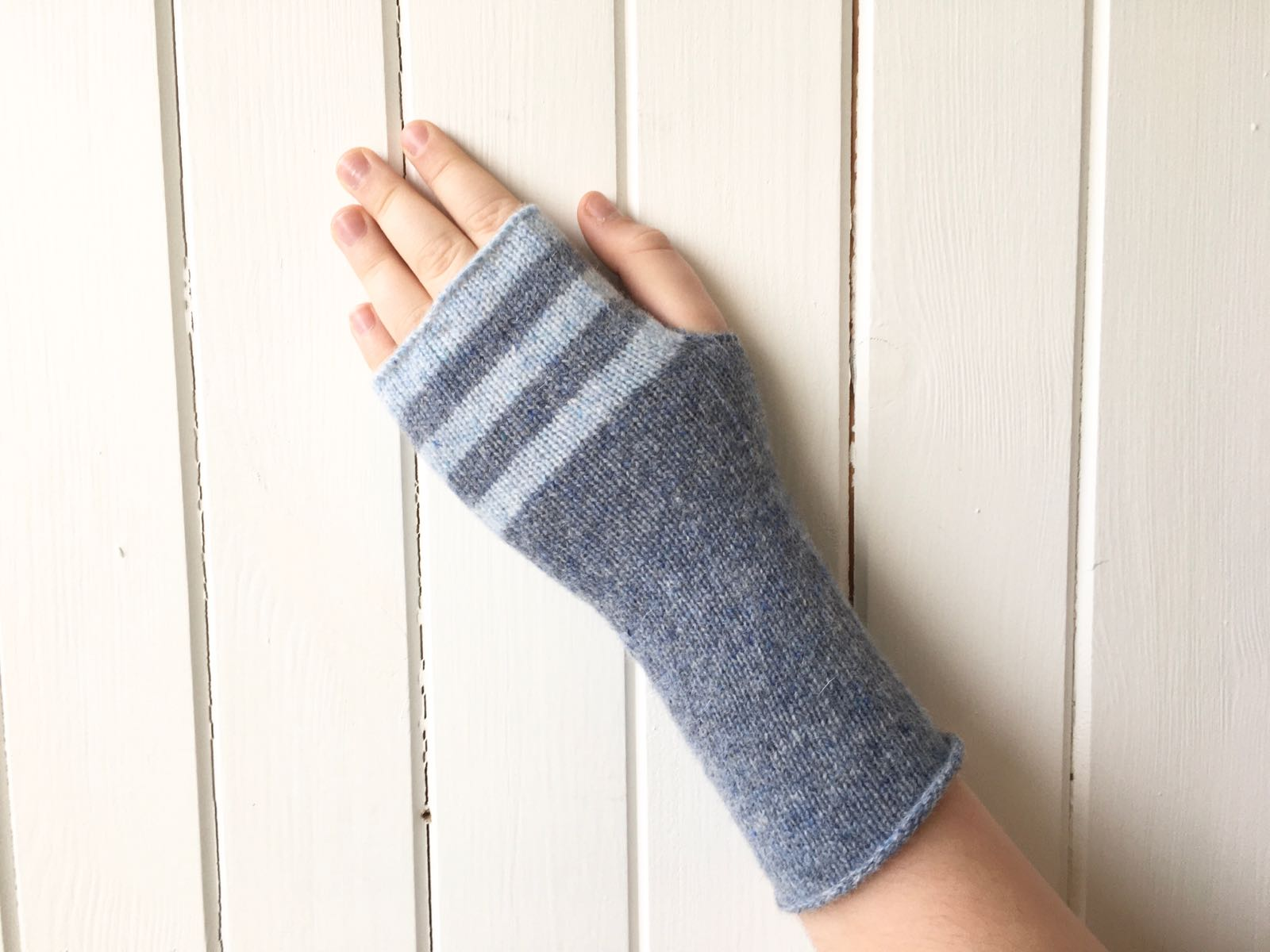 pale blue and mid blue striped fingerless gloves