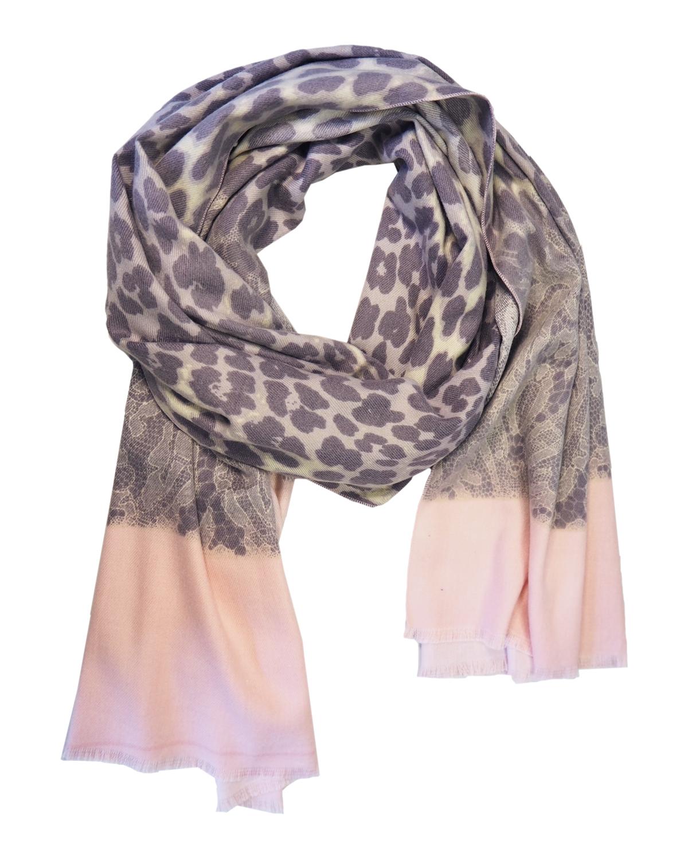 Cashmere-viskoosi huivi, vaaleanpunainen leopardikuvio