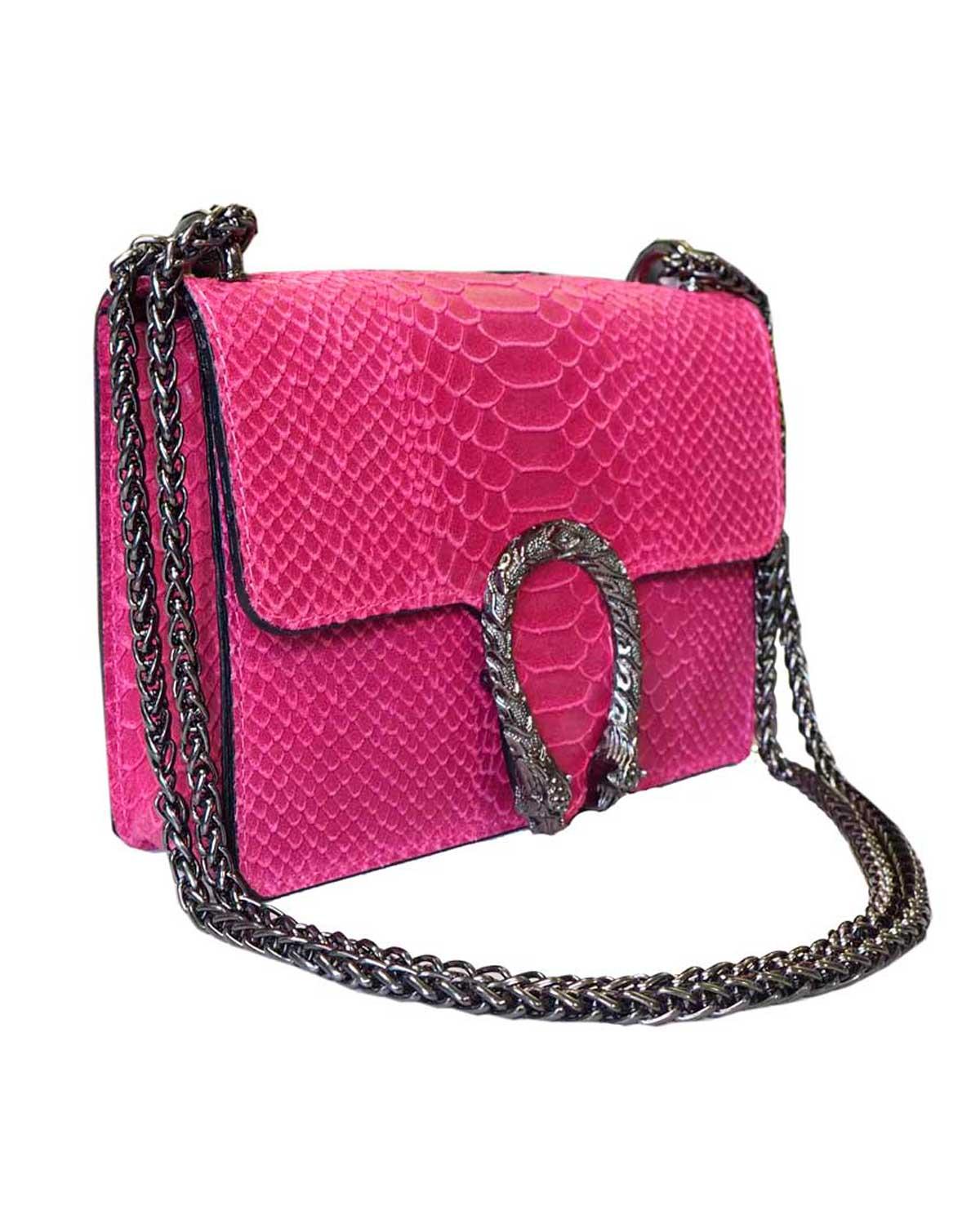 Krokotiilinahkakuvioinen laukku, pinkki