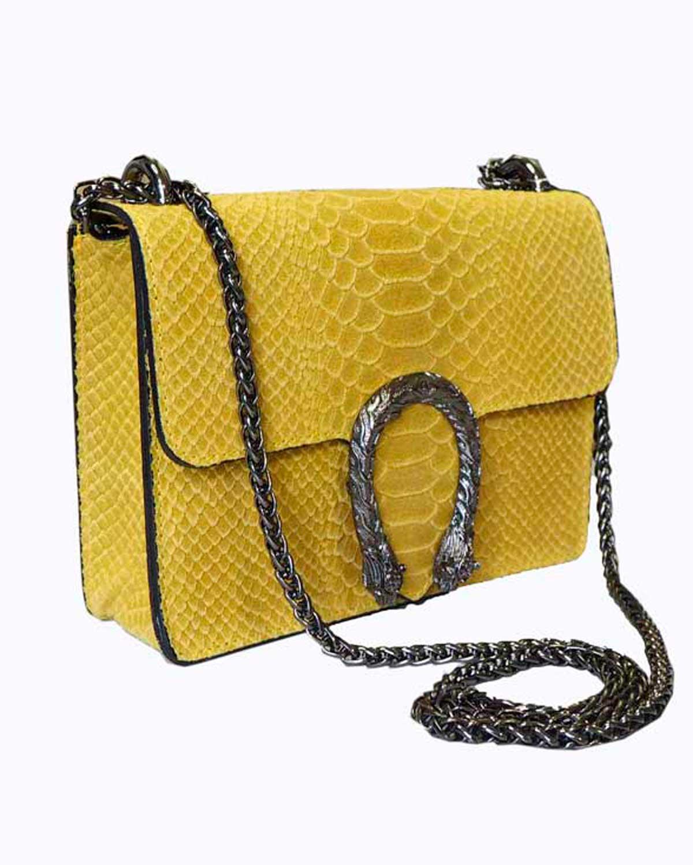 Krokotiilinahkakuvioinen laukku, keltainen