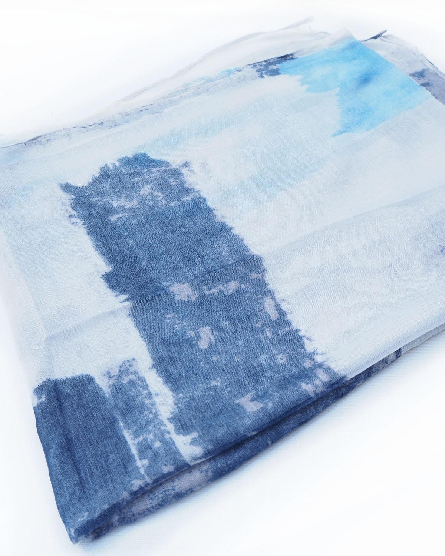Kirjava viskoosihuivi, sininen