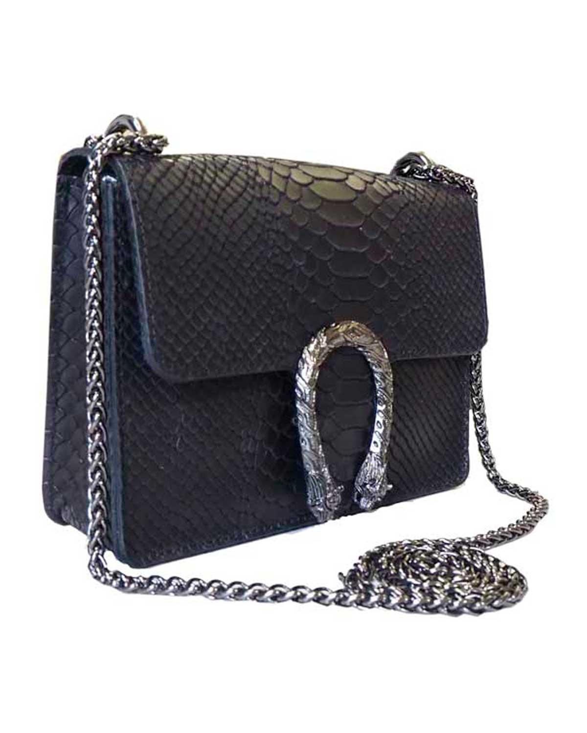 Krokotiilinahkakuvioinen laukku, musta