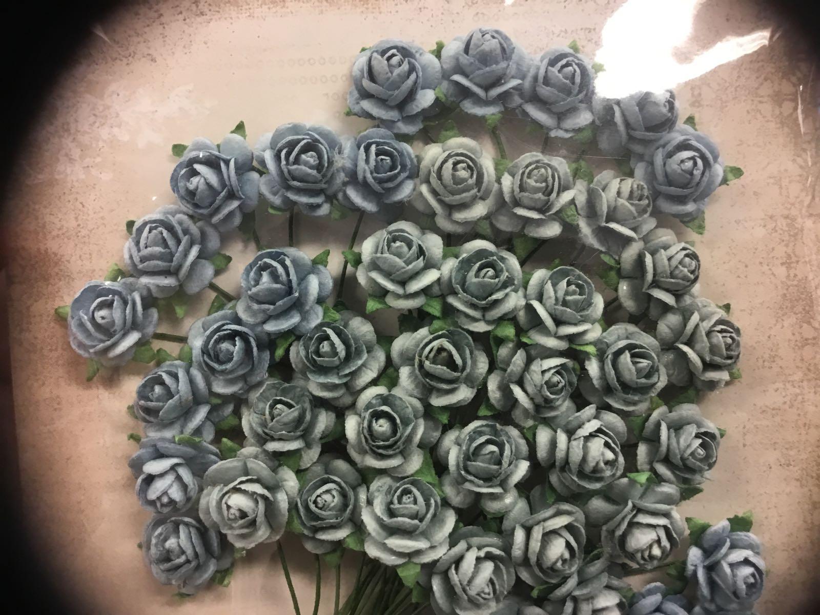 Papirdesign blomst, rose vintage-blå/brun-blå, 1,2cm