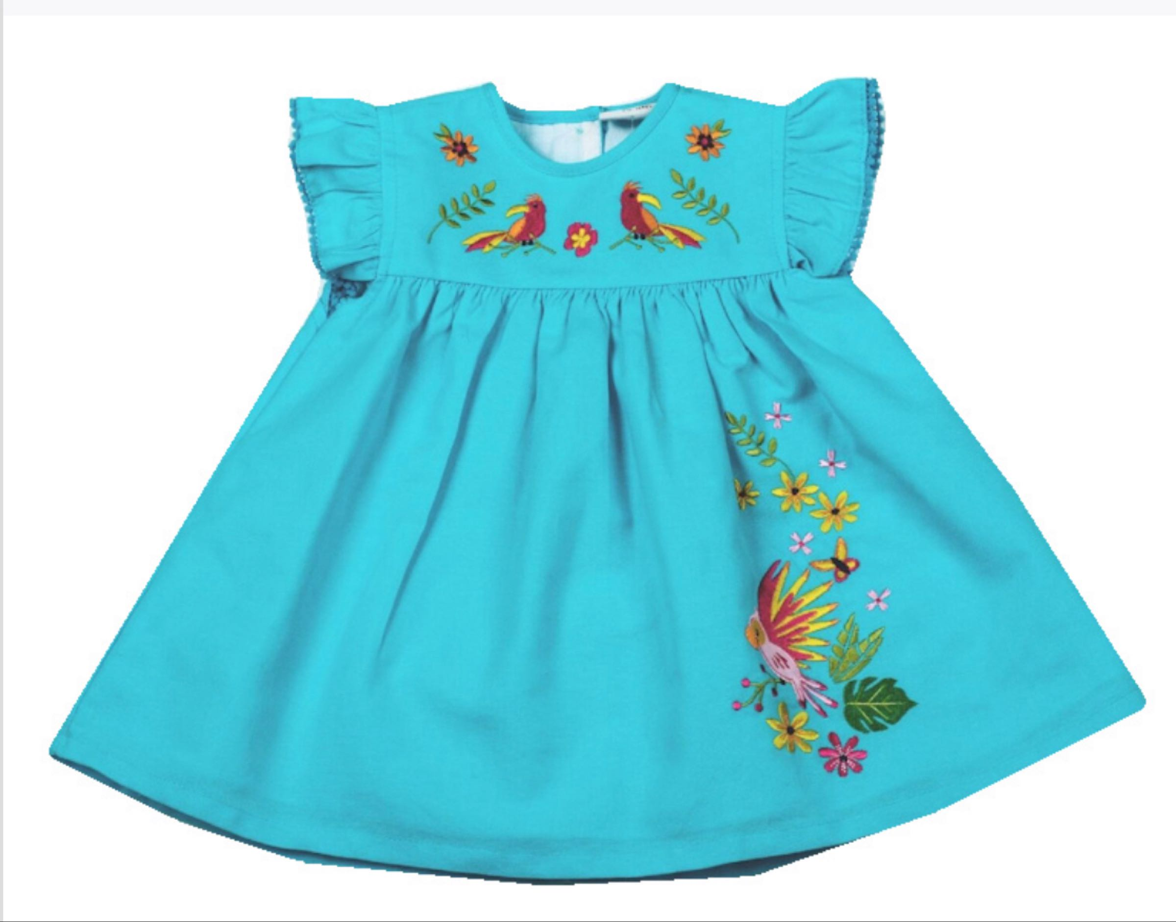 Embroidered Parrot Dress