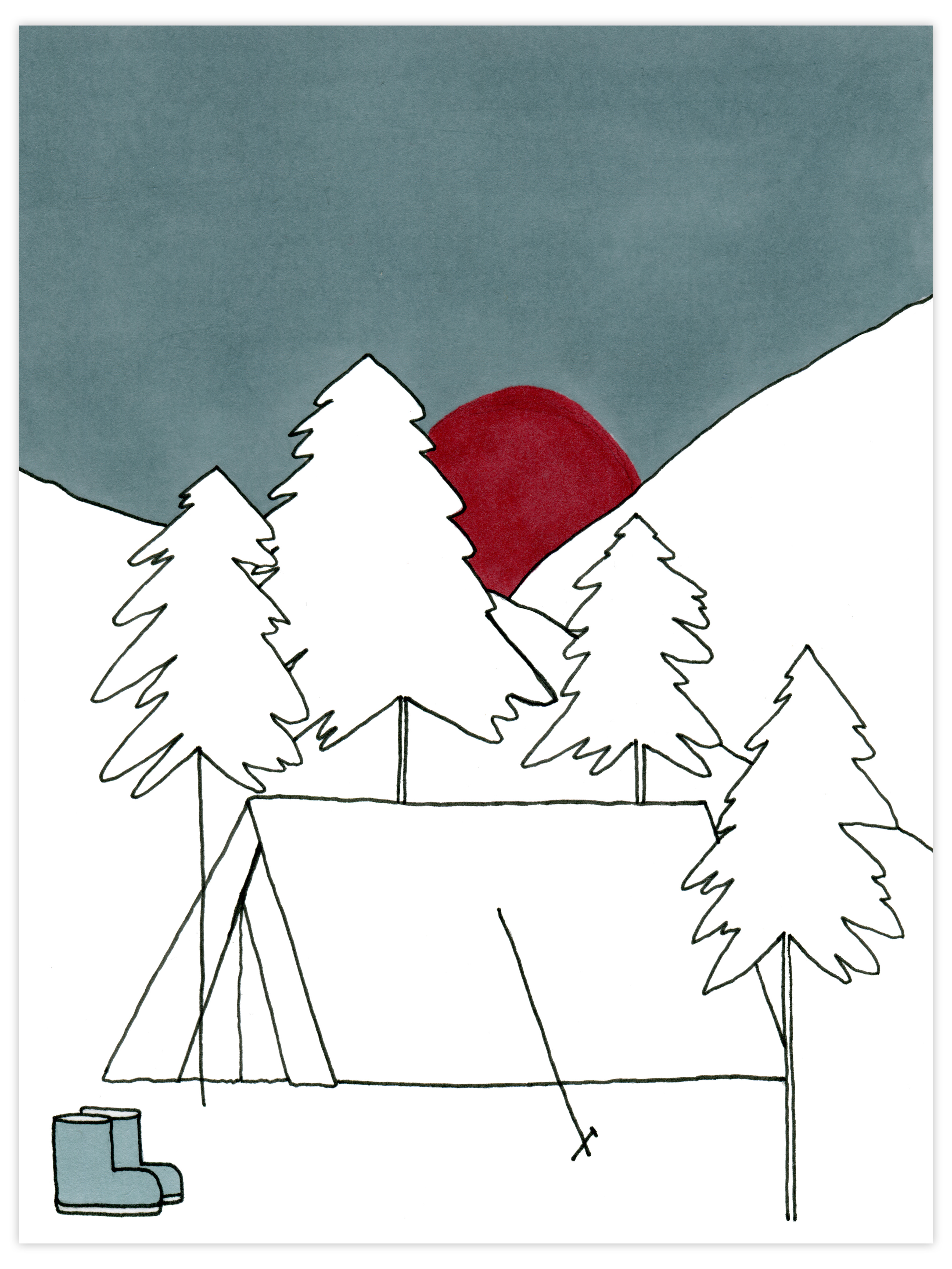 Tent in snow 30X42cm