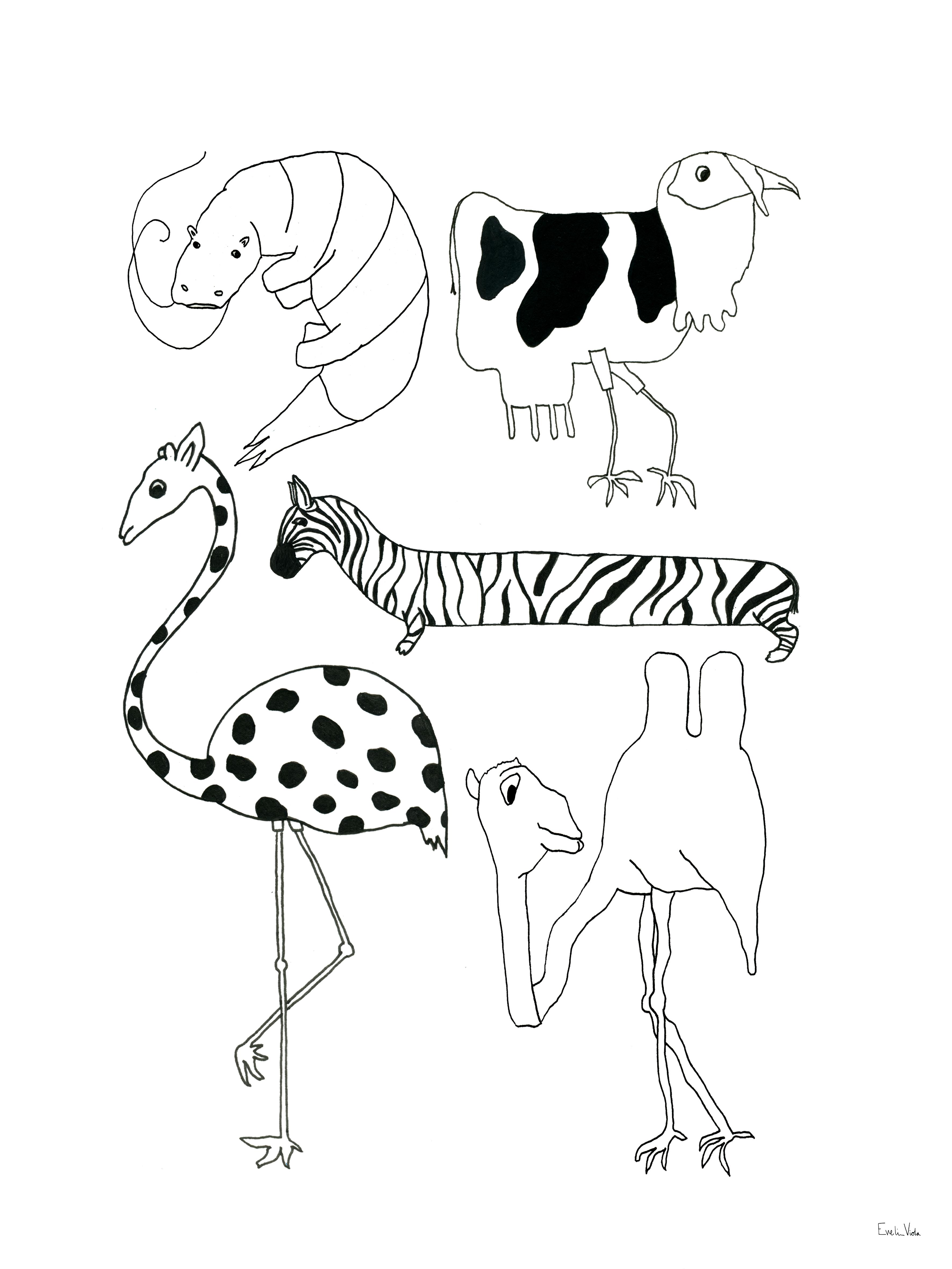 Animals 21X29,7cm (A4) (Free shipping)
