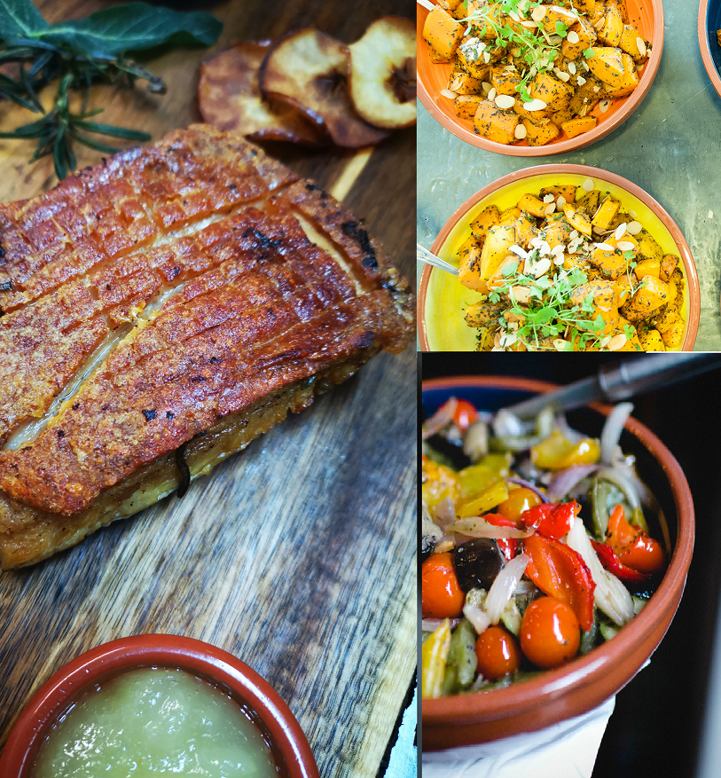 Slow-cooked pork belly in sage & cider served with rustic apple sauce ( Serve 4 guests)