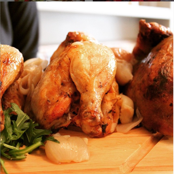 Free range whole chicken marinated under the skin in garlic, fresh herbs, butter & lemon with carrots, red onions & white wine jus with 3 sides (2 /4 guests)