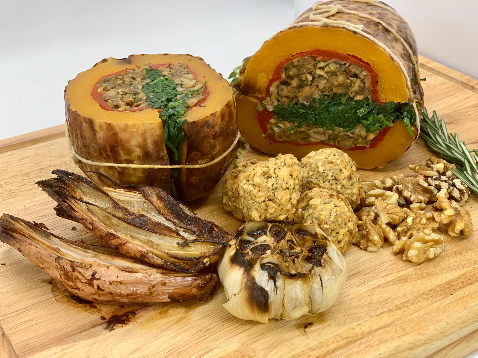 Vegan Roasted butternut stuffed with chestnuts, mushrooms, walnuts & spinach with 4 sides (4 guests)