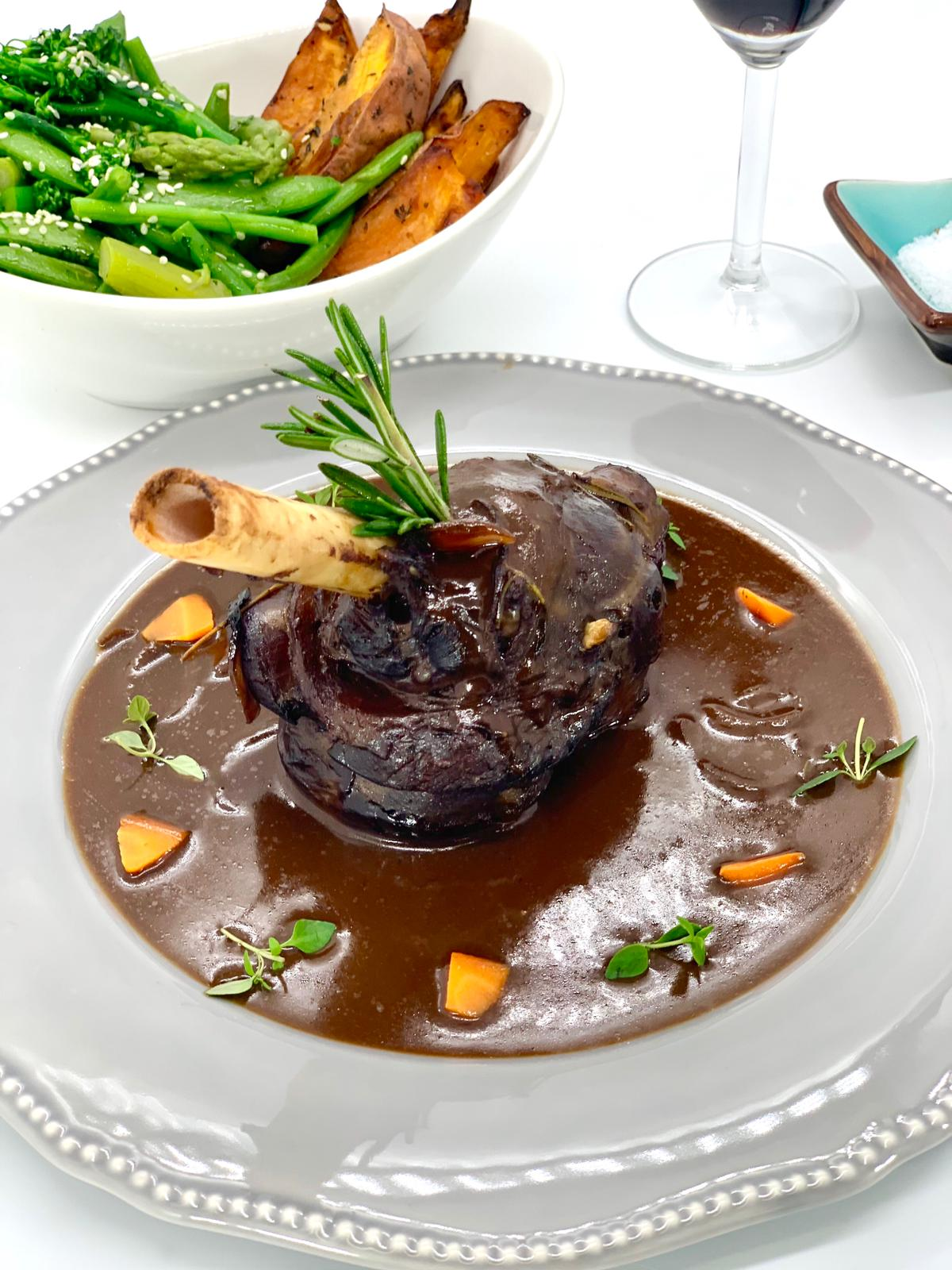 Slow cooked Lamb shank in Cotes du Rhone wine sauce (4 guests)