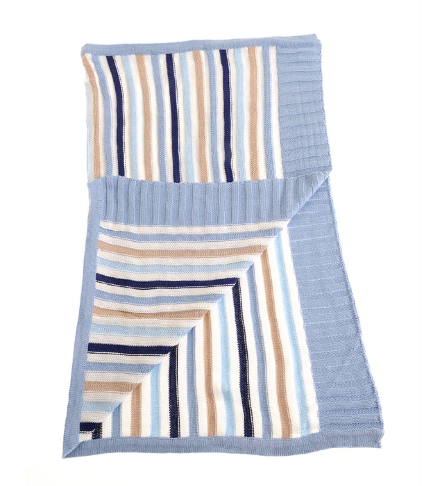 Ziggle Blue & Beige Stripes Blanket