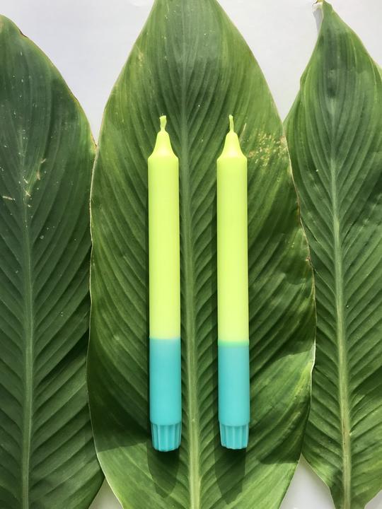 2 Kerzen in Neongelb*Türkis