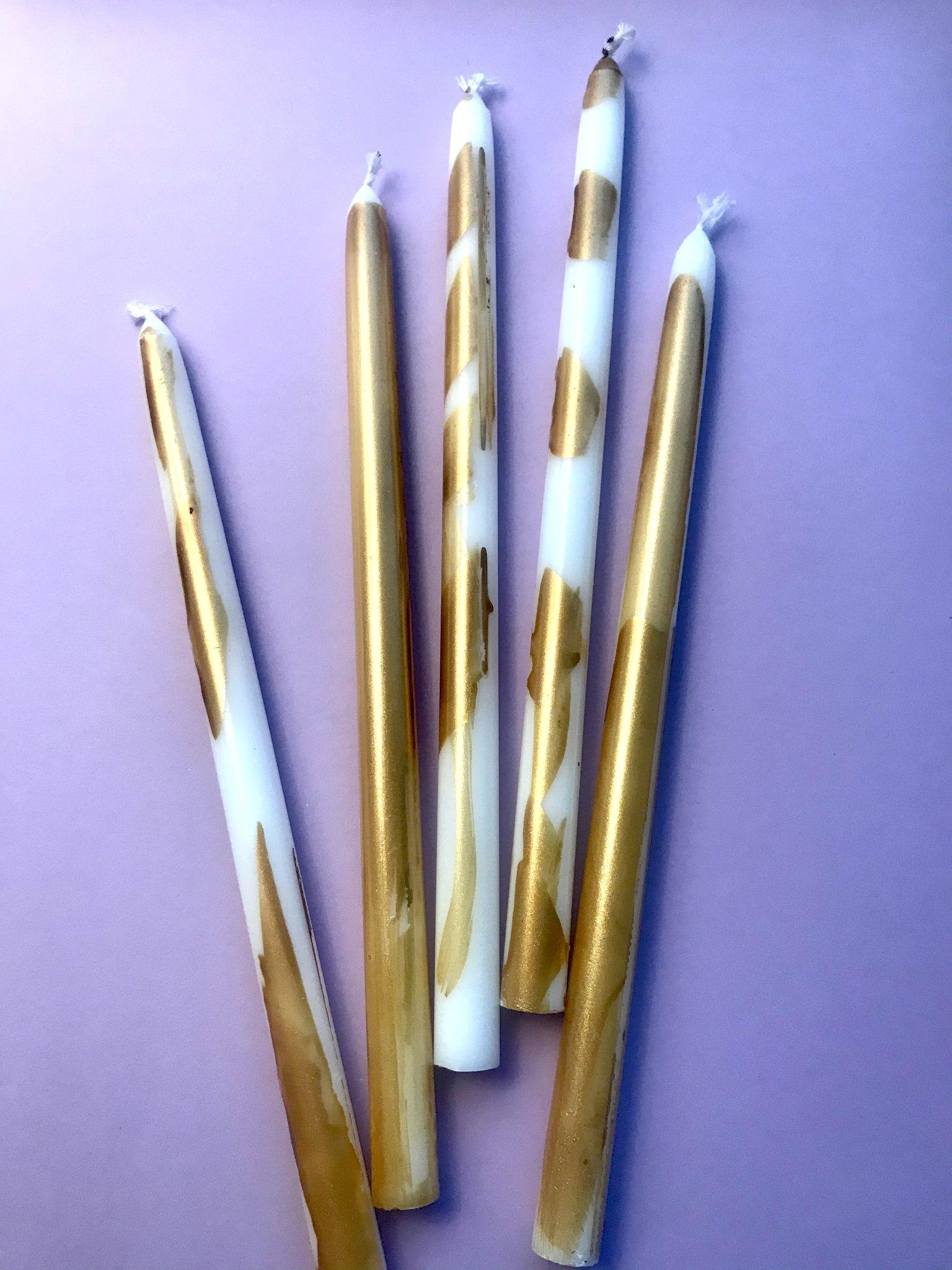 3 Kerzen Gold*Weiss, dünn/ mittellang