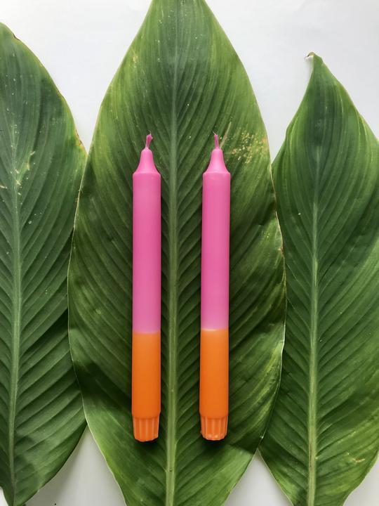 2 Kerzen Orange*Rosa