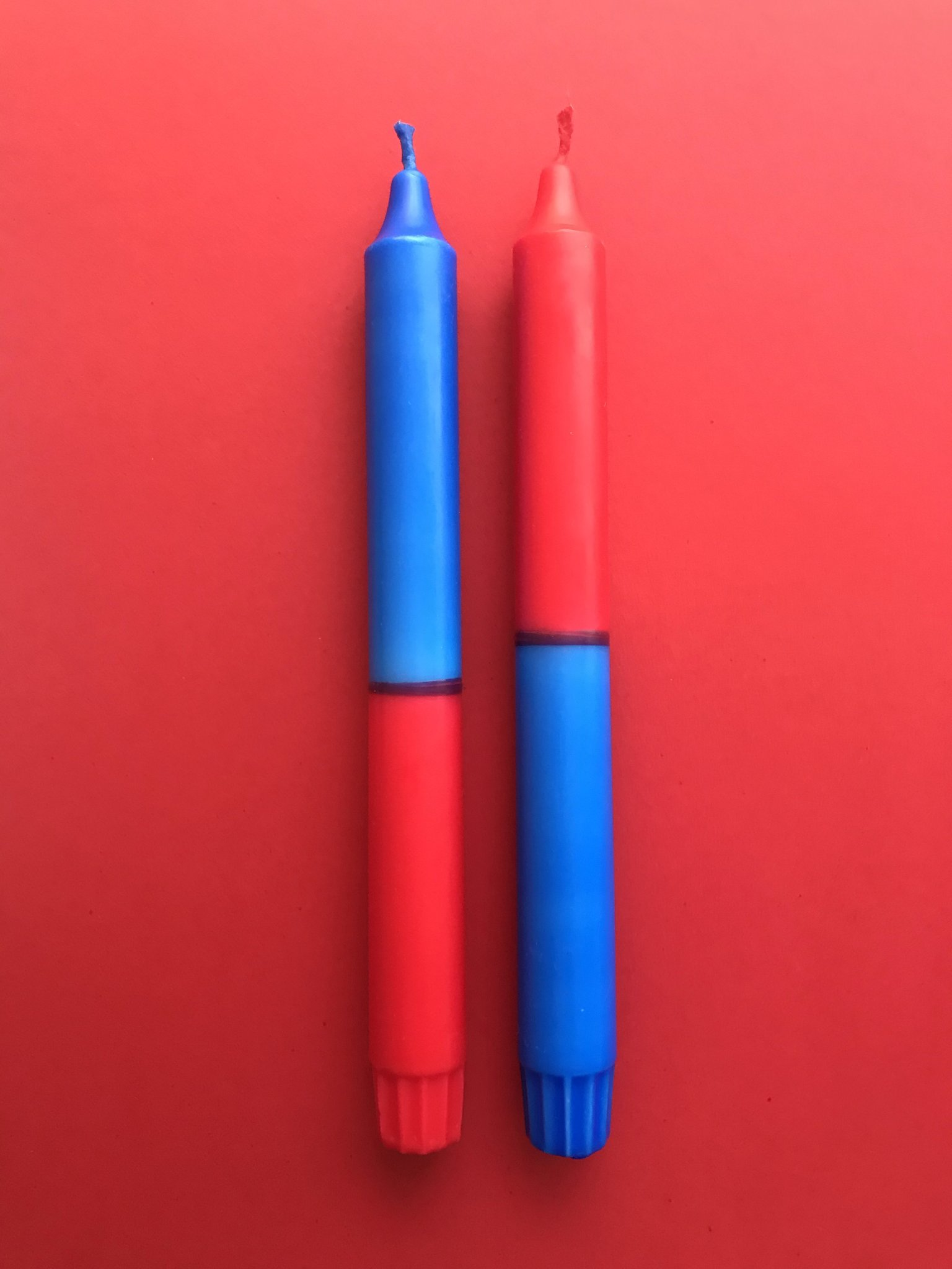2 Kerzen Rot*Blau